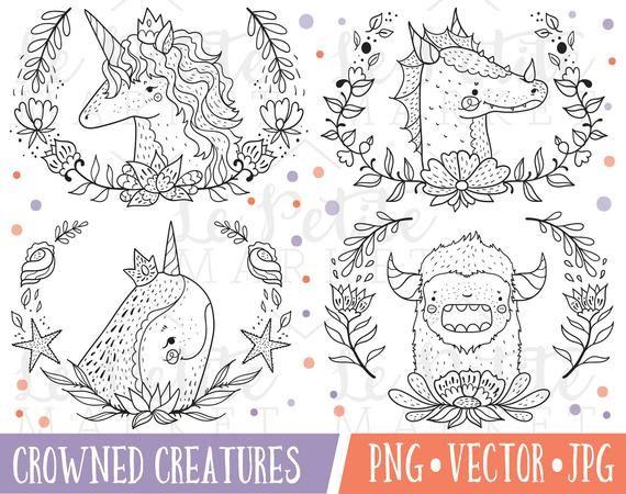 Kawaii Magische Tier Clipart Bilder Einhorn Portrat Susse Etsy In 2020 Animal Clipart Unicorn Illustration Clip Art