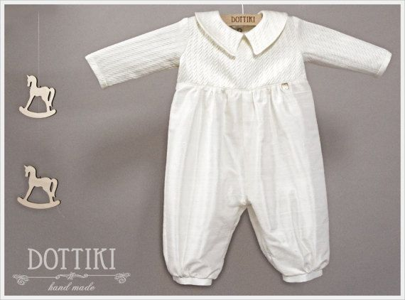 Boy Christening  Outfit    Dupioni and Jaquard Romper  by DOTTIKI