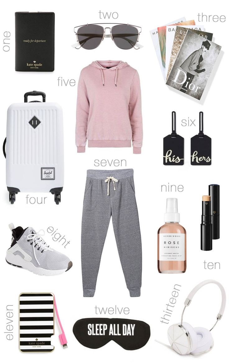 DETAILS: 1. PASSPORT COVER | 2. SUNGLASSES | 3. FASHION DESIGNER BOOK SET | 4. WHITE CARRY-ON SUITCASE | 5. COZY SWEATSHIRT (UNDER $50 – MORE COLORS HERE) | 6. LUGGAGE TAGS | 7. GREY JOGGERS (UNDER $6