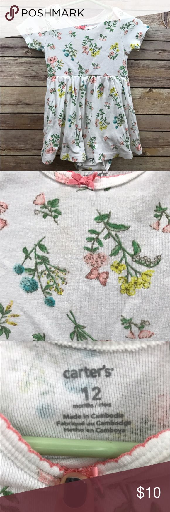 Carters Dress, 12 M Sweet, vintage feel, floral onesie dress. Excellent used condition. Carter's Dresses Casual