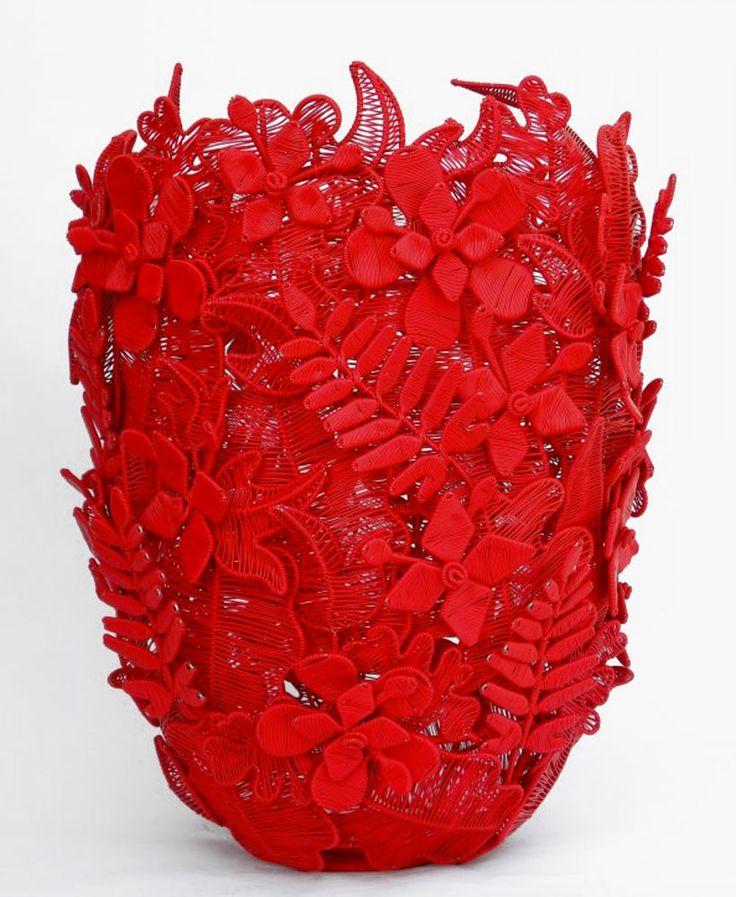 Zenzulu wired nature red vessel designed by Marisa Fick-Jordaan