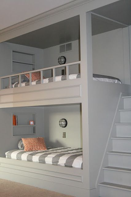 If I ever did a bunk bed, this is what I would do. Since it looks built in, I would actually close off the top so that the risk of falling because kids play wouldn't happen.