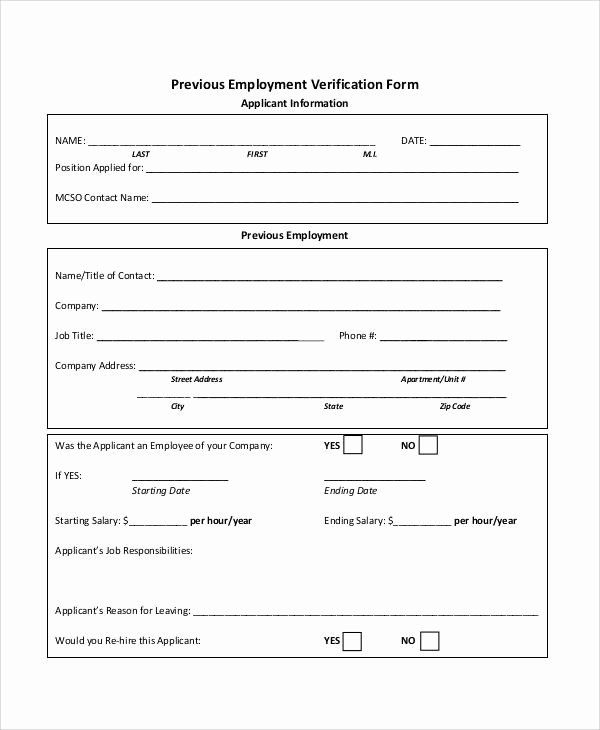 Verification Of Employment Form Template Awesome 50 Sample