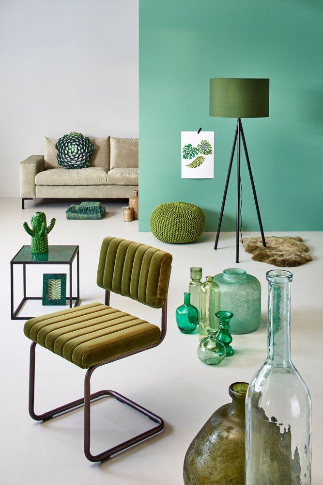Woonexpress | kleurtrend groen | poef FREUBEL | bijzettafel ROTTUM