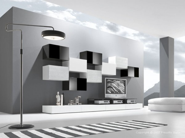 black n white furniture. ultramodern open gray living room featured with furniture from presotto italia like striped carpet floor lamp flat tv wall unit white puff black n a