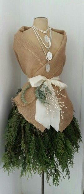 Christmas tree dress form: Burlap and pearls dress form