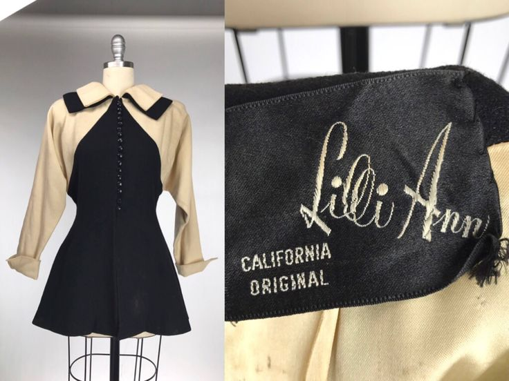 Vintage 1940s Lilli Ann Jacket // 40s Black and White Wool Coat // Pin Up Rockabilly Cosplay Costume // Vintage Film Noir Monochrome by DuchesseVintage on Etsy https://www.etsy.com/ca/listing/531550152/vintage-1940s-lilli-ann-jacket-40s-black