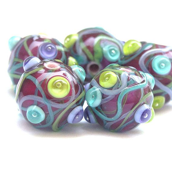 streamers lampwork glass bead set