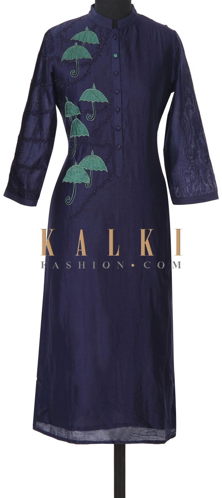 Buy this Navy blue kurti adorn in umbrella motif embroidery only on Kalki