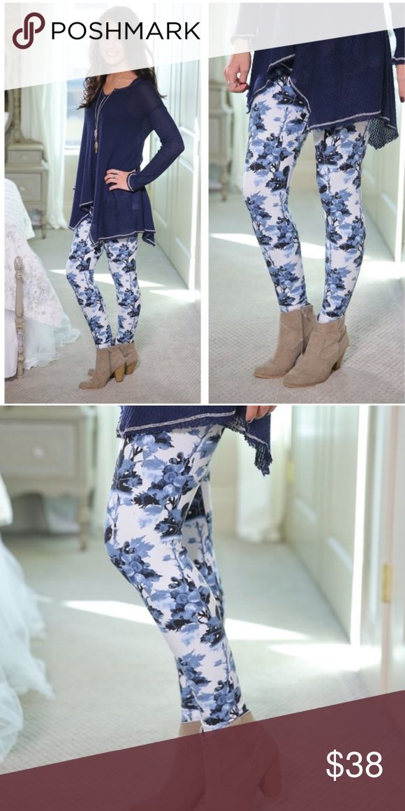 Farmstyle Blush Blue Leggings Knit leggings in blue and white with farmstyle floral pattern. These have an adorable shabby chic look to them. Perfect for Spring! 92% polyester, 8% spandex. Pants Leggings