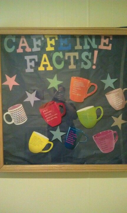 Caffeine facts bulletin board. I just found my next bulletin board!!! I am going to make the coffee & tea cups out of scrap booking paper!!!