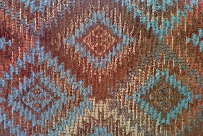 This southwestern fabric reflects the colors that our SoulSearcher wears best as she has soft blue eyes, and medium brown hair with some sandy highlights. BFA-Sioux, Turquoise, Southwest Upholstery Fabric