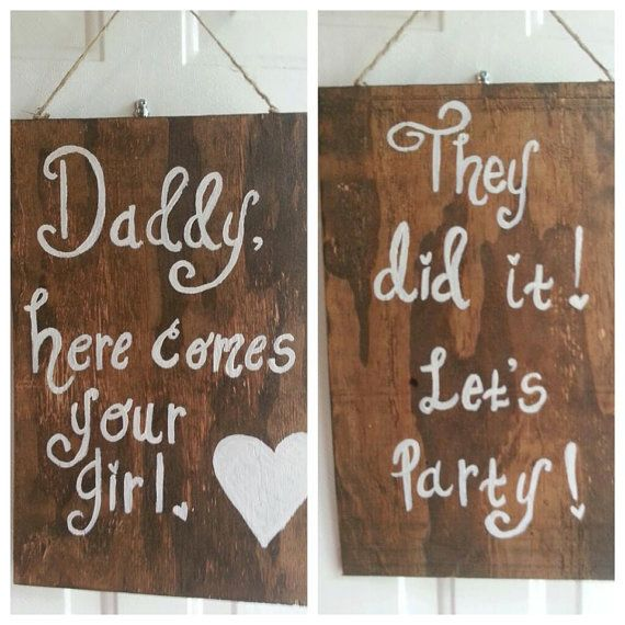 Daddy, Here Comes Your Girl - They Lived Happily Ever After  - REVERSIBLE, RUSTIC, WEDDING sign - flower girl sign, ring bearer sign