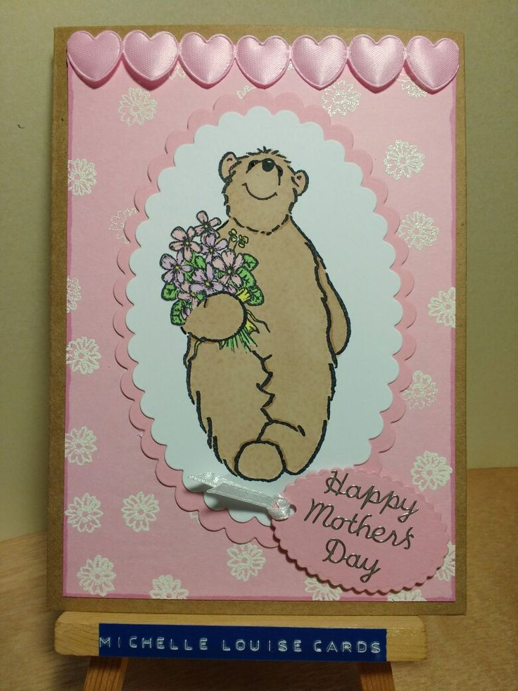 Hobby Art Just A Bear stamp Mother's Day card