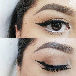 Also don't worry if your wing looks different on each eye, or isn't completely straight when closed. | 11 Glam AF Makeup Tips For People With…