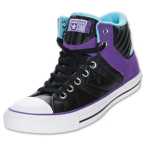 Men's Converse Star Player Rise Casual Shoes| FinishLine.com | Black/Lilac/Blue Radiance