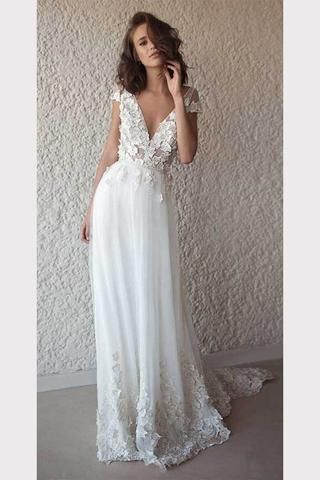 7ca6bed421 Ivory Cap Sleeve V Neck Wedding Dresses Beach Boho Appliques Bridal Dress  N1402 in 2019 | Products you tagged | Boho wedding dress, Applique wedding  dress, ...