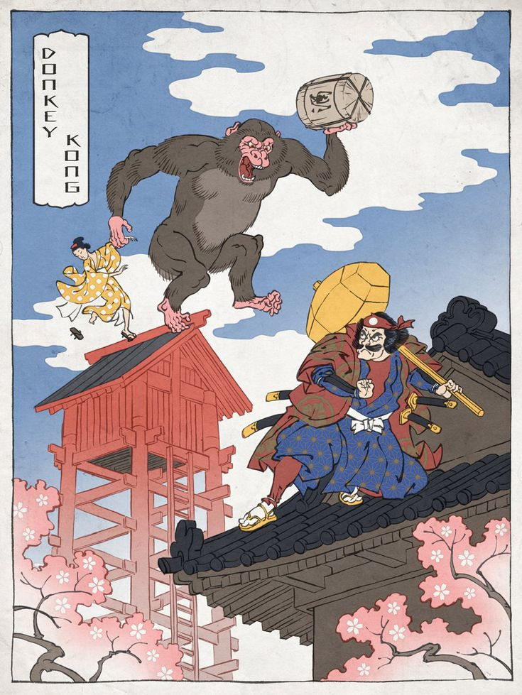 When Japanese traditional art meets Japanese traditional video games heroes : Jed Henry - Ukiyo-e Heroes Donkey Kong