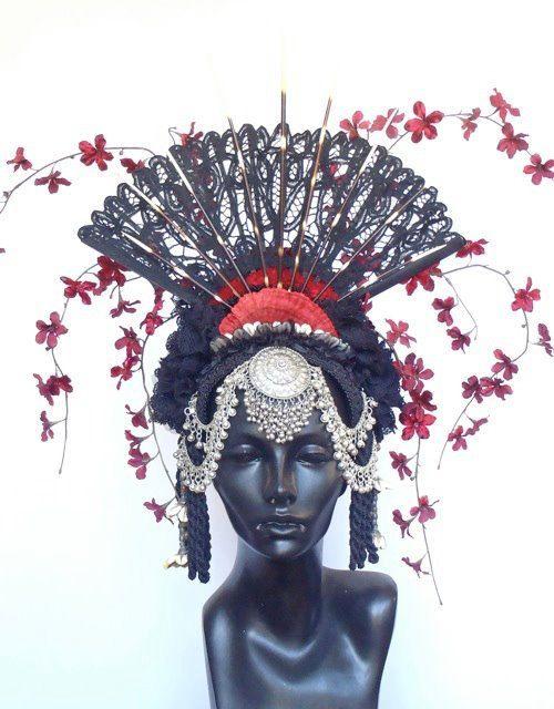 Fan and Flower Headdress by MissGDesignsShop on Etsy
