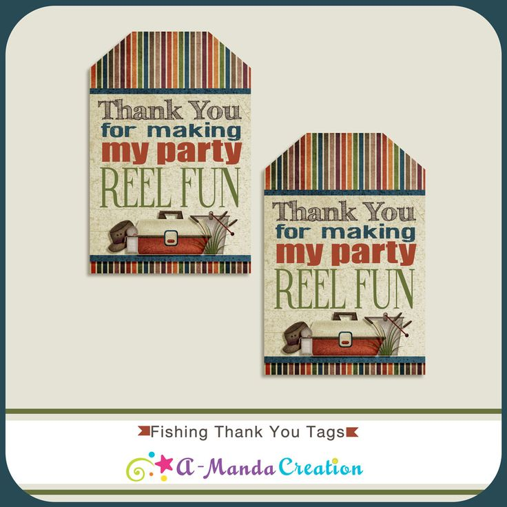 Fishing Party Printable Thank You Tags from #AmandaCreation help make your Fishing themed party extra special with these cool, rustic, outdoorsy printables