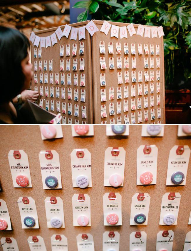 Perfect way to do button escort cards! Individually named tags with a handful of cute button designs. #escortcards #weddingbuttons