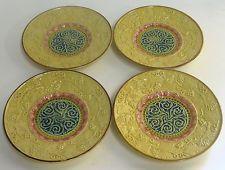 Antique GS Zell German Majolica Art Pottery Porcelain Dessert Cake Plates Set