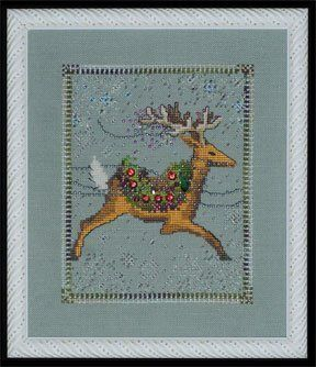 From Nora Corbett's Christmas Couriers Series is Dasher that is stitched with DMC threads, Ice Magnica Beads, White Magnifica Beads, Brillia...