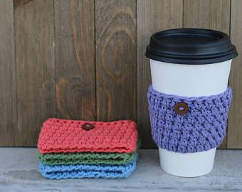 Crochet Coffee Cup Sleeve, Cup Warmer, Crochet Cup Wrap, Beverage Insulator, Crochet Purple Coffee Sleeve, Tea Cup Sleeve, Coffee Cup Cover
