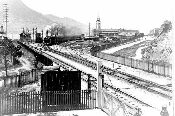 Kowloon-Canton Railway 九廣鐵路 at Tsim Sha Tsui,Kowloon ~ terminus and clock tower were just completed,  1916.