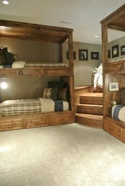 Built In Bunk Beds in a corner of the basement for extra beds