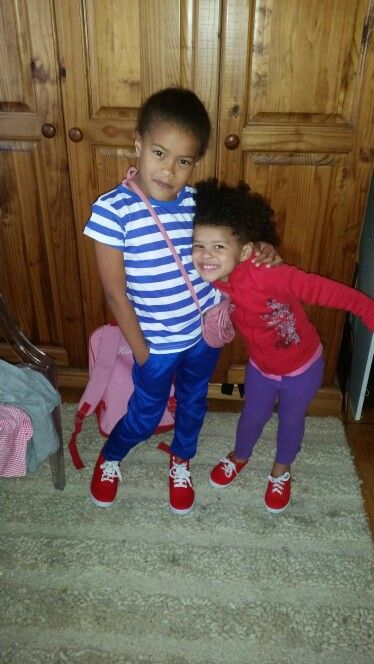 Not color co ordinated at all #bigsister chose # littlesister's wardrobe