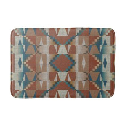 Burnt Orange Brown Teal Blue Eclectic Ethnic Look Bath Mat - stylish gifts unique cool diy customize
