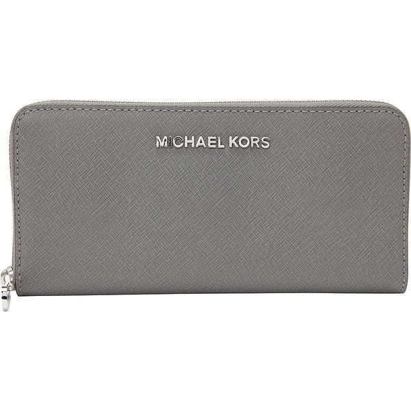 MICHAEL Michael Kors Jet Set Travel Zip Around Continental Wallet... ($138) ❤ liked on Polyvore featuring bags, wallets, designer ladies wallets, grey, ladies wallets, michael michael kors, real leather wallet, continental wallet, leather travel bag and genuine leather wallet
