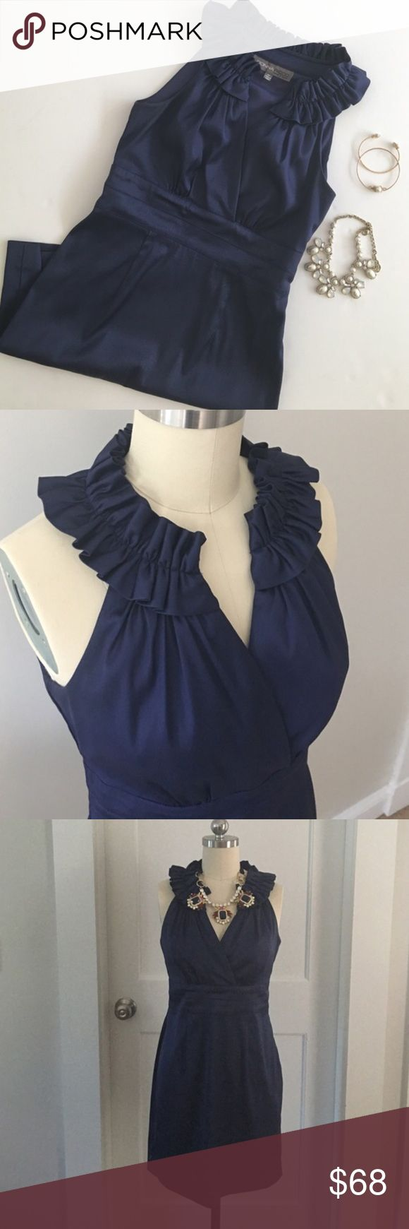 Donna Ricco Navy Dress Navy satin ruffled v-neck wrap bodice formal dress by Donna Ricco. Side zip. Size 4P. Like New! Donna Ricco Dresses Midi