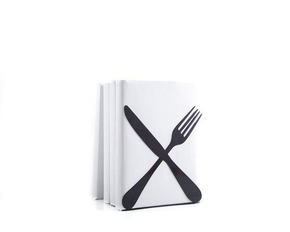 One Kitchen bookend Silverware Cross // floating shelf decor / cookbook book holder / kitchen storag