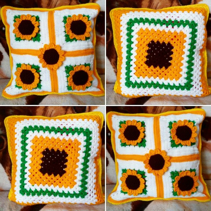 Crochet pillow with sunflowers😊🌻🌻🌻🌻🌻🐛