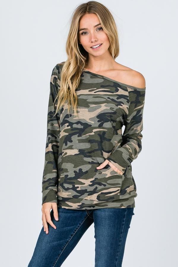 88e8b4f6ee5 Emily - Camo Off-the-Shoulder Shirt in 2019