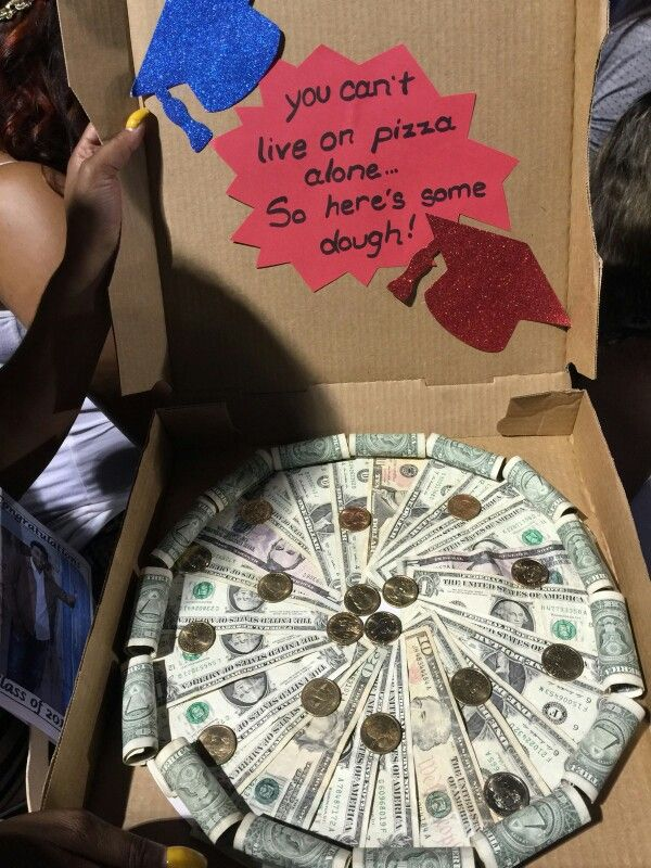 Money pizza for graduation gifts