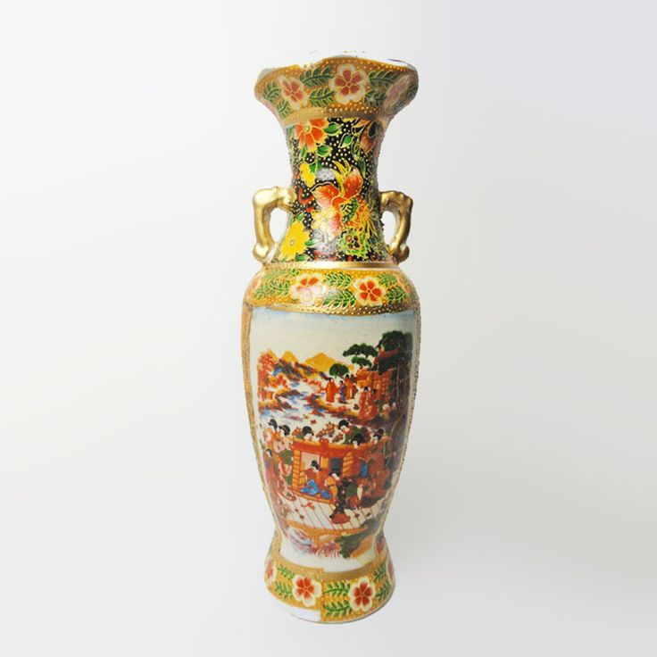 FOR SALE! Vintage Ceramic Oriental Style Vase called Meeting on the Dock - Vintage ceramic bud flower vase featuring a painted scene of oriental people meeting on a dock. 2-1/4R x 8H. 1 inch mouth. Home décor accent piece. Buy Now!