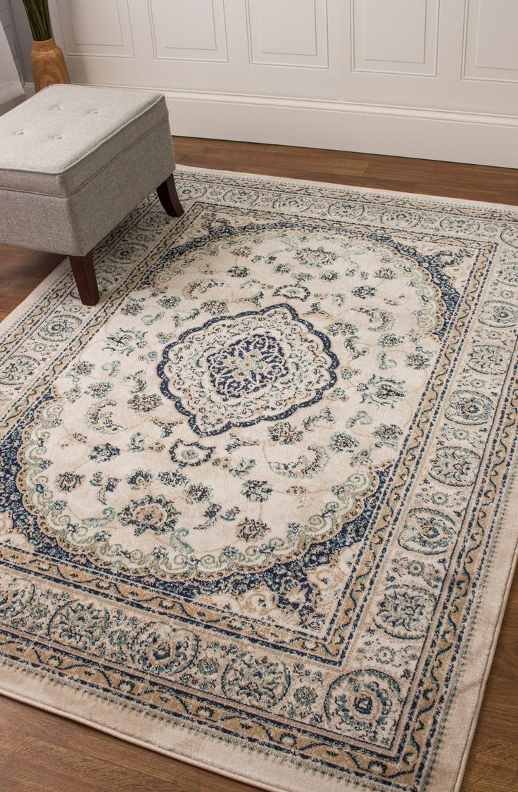 Transitional Rug Ivory & Blue High Quality Carpet Nylon  #decor #rugs #carpet #floors #dreamhome #decorating #interiorstyling #myhome #floorcoverings #homedecor