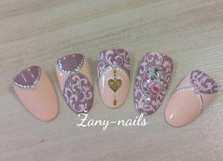 """""""#crystalnails #nailart #nails #nail #rose_nails #rose #vintagenails #zany_nails"""""""