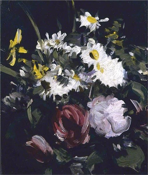 Flowers against a Dark Background - Peploe Samuel