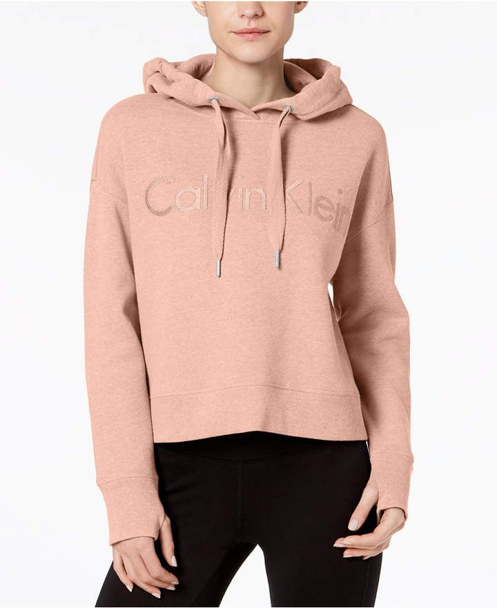 a6b20c4ee0aa9 Calvin Klein Performance Relaxed Cropped Fleece Hoodie
