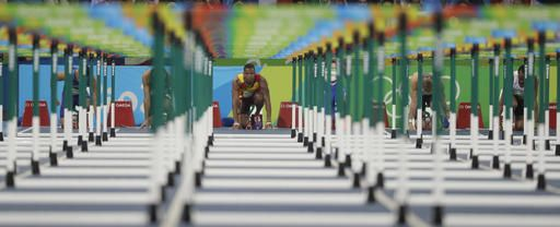 Germany's Gregor Traber competes in a men's 110-meter hurdles heat during the athletics competitions of the 2016 Summer Olympics at the Olympic stadium in Rio de Janeiro, Brazil, Monday, Aug. 15, 2016. (AP Photo/David J. Phillip)