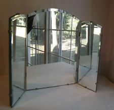 Image Gallery For Website Vintage Tri fold Beveled Glass Vanity Mirror As