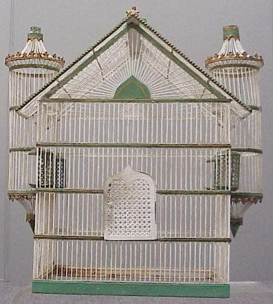 Victorian painted wire/tole birdcage, 19th century.