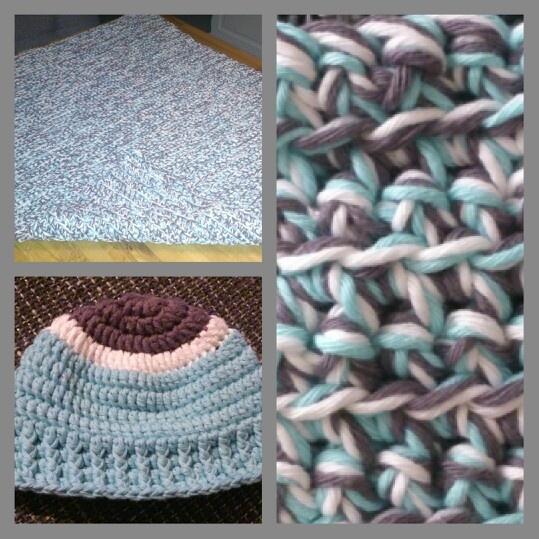 Crochet triple color blanket for baby - gehaakte baby deken jongen in 3 kleuren