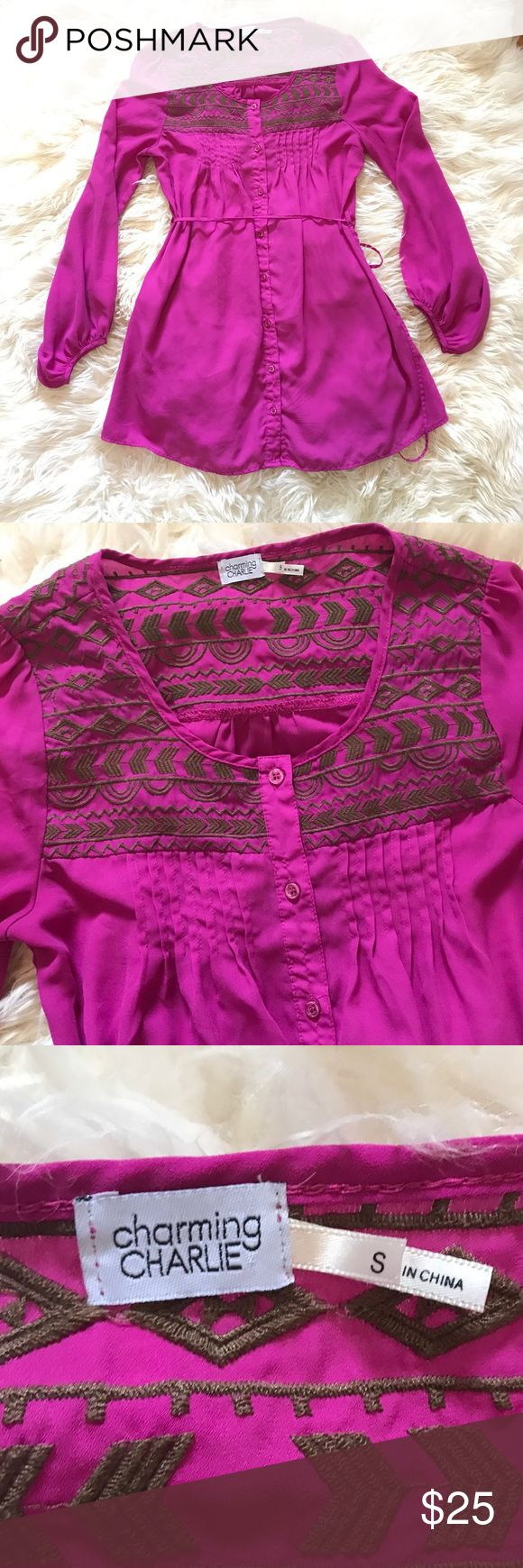 Charming Charlie Purple Embroidered Dress Gorgeous purple embroidered Charming Charlie Dress that ties at the waist. The color is perfect for fall! Charming Charlie Dresses Long Sleeve