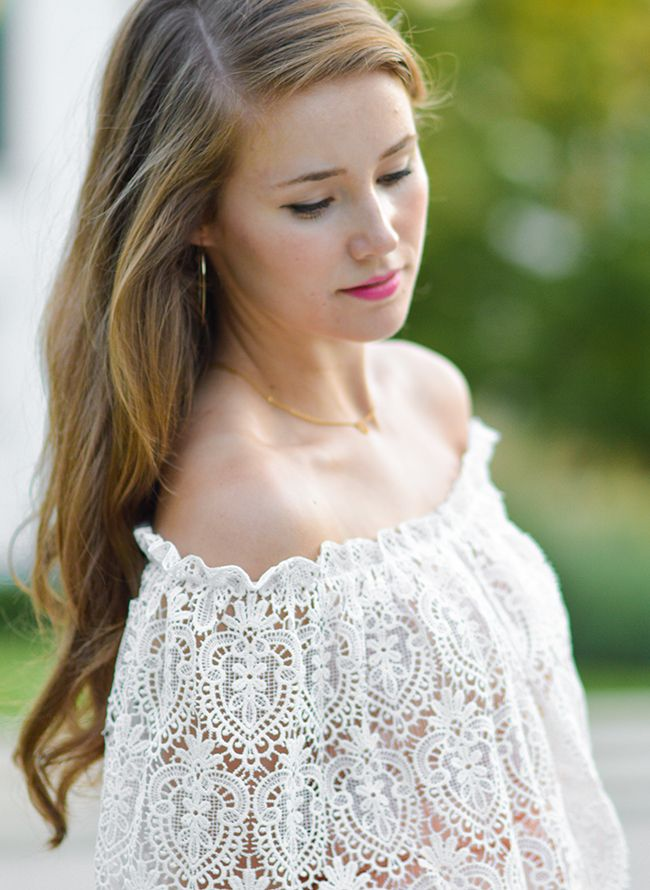 Off the Shoulder Lace Dress | how to style an off the shoulder dress | how to wear an off the shoulder dress | summer fashion | summer style | fashion for summer | style ideas for summer | warm weather fashion | fashion tips for summer || lace dress, off the shoulder lace dress, rush dresses, rush dress, monogrammed clutch, southern belle, southern belle style, sorority girl style, georgia peach || a lonestar state of southern