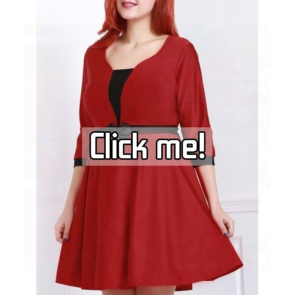 Endearing Scoop Neck 3/4 Sleeve Bowknot Plus Size Dress For Women    Price: $18.35.